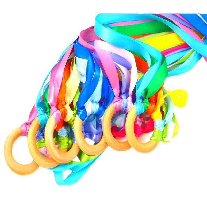 2020 INS Rainbow Baby Teething Ring Baby Teethers Ribbon ...