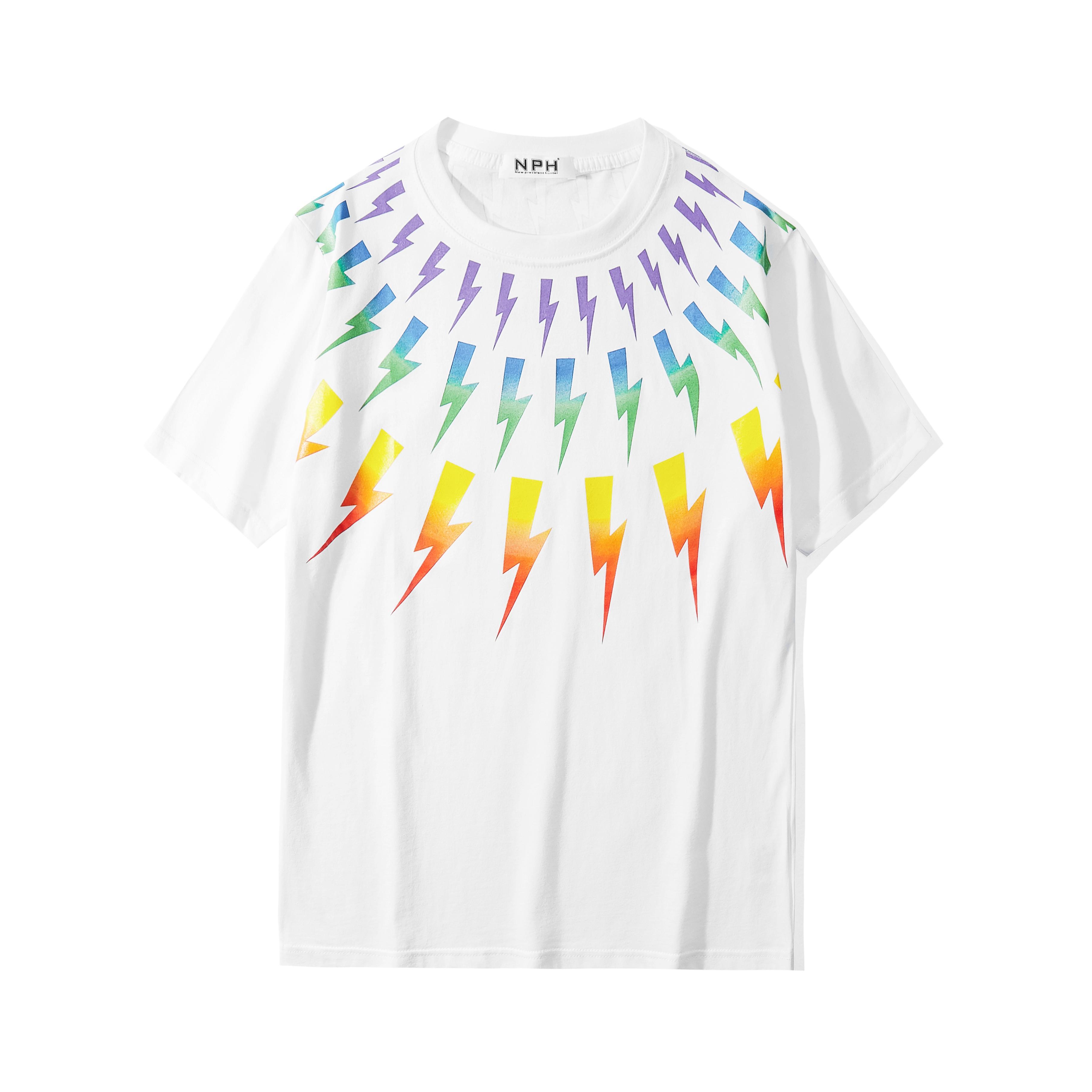2020 الصيف موضة جديدة القصير الأكمام تي شيرت قصير كم شارع تيز قميص قوس قزح شريط قمم عارضة الرجال قميص تي شيرت S-XXL
