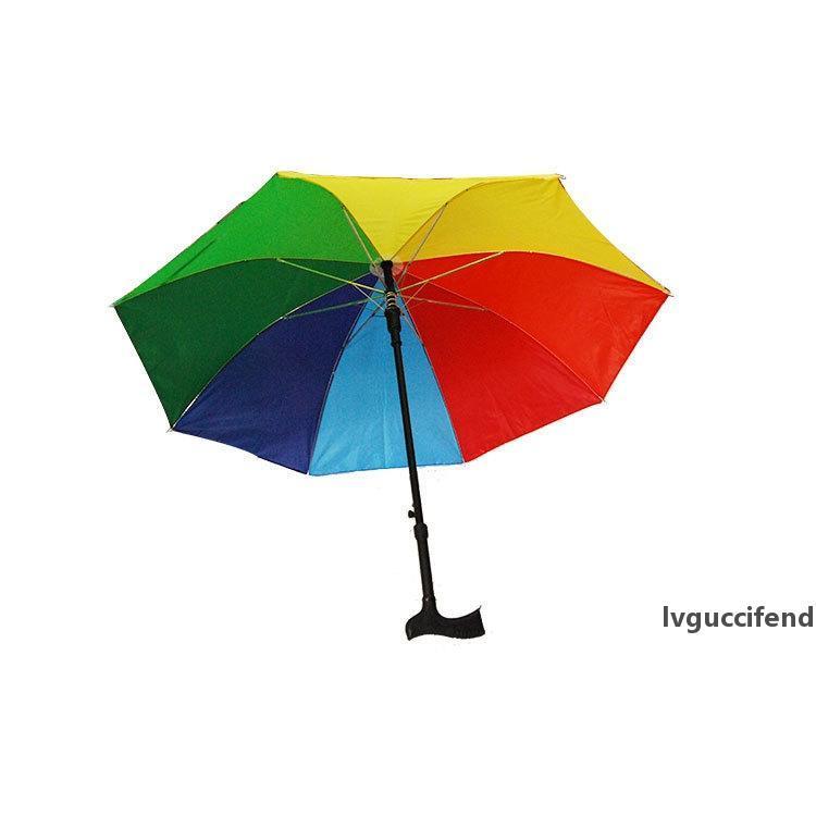 2 في 1 العكاز مظلة تسلق المشي لمسافات طويلة المشي عصا المظلات وطويل مقبض السفر صامد للريح المضادة للأشعة فوق البنفسجية مظلة RainSun GGA2571
