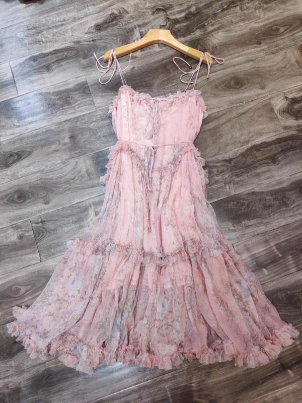 Отпуск Bohemian платья пляж лето женщин Элегантных оборки розовые цветочные печатный Спагетти ремень Шелковые Длинные платья 2020