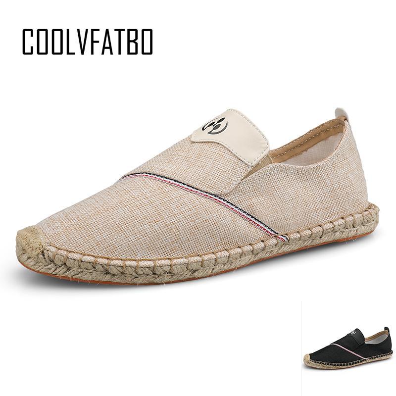 COOLVFATBO 2019 Hot Sale New Men Hemp Slip-On Fisherman Shoes 2019 Brand New Breathable Espadrilles Flats Solid Moccasins CX200729