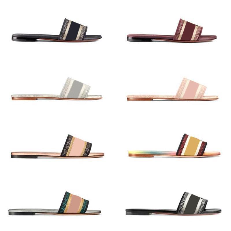 Parte superior de piel mujeres DWAY diapositivas Zapatilla Diseñador plana de algodón bordado Sole Impreso sandalias planas de las chancletas de playa causal zapatilla con la caja
