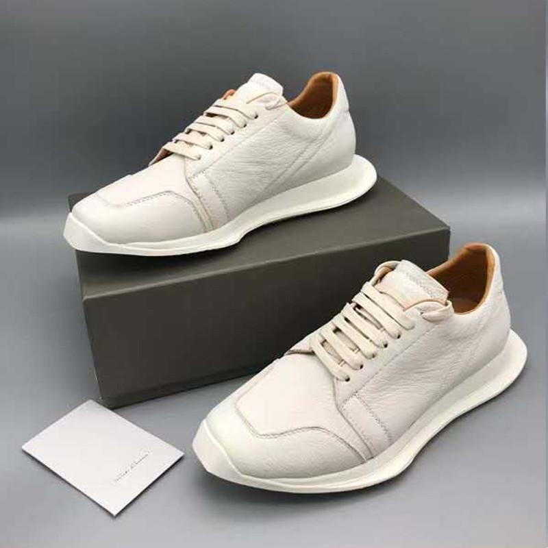 Натуральная кожа обувь Ro-мужчины Мода Черный Белый Кроссовки Модные Мужчины Обувь 17 # 21 / 20d50