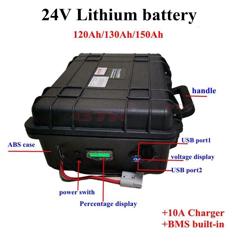 24V 120Ah 130Ah 150AH литий литий-ионный аккумулятор с BMS 7S для инвертора солнечной системы RV электрический рыболовное судно UPS EV + 10A зарядное устройство