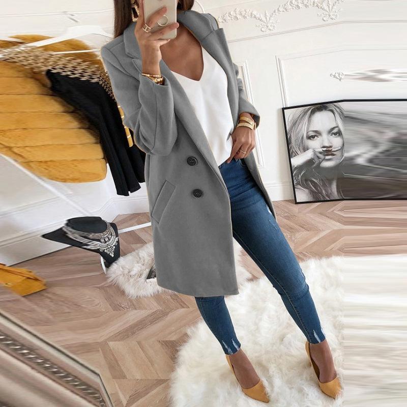 2020 جديد إمرأة الصوفية معطف الشتاء طويل نحيف كم الأخلاط الستر بدوره إلى أسفل طوق الخريف سيدة مكتب طويل الصوف المعاطف زائد الحجم