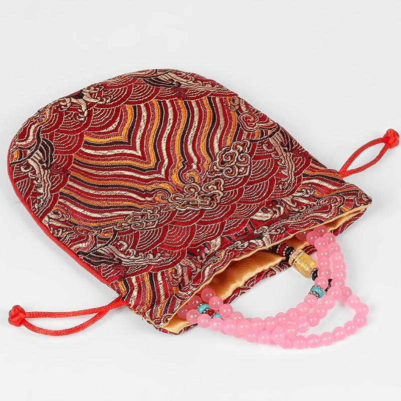 Vintage vague soie Petit cordonnet Sacs Brocade Pouches chinois Sacs cadeaux Sac Bijoux Maquillage Tissu avec doublure 2pcs 13x15cm / lot