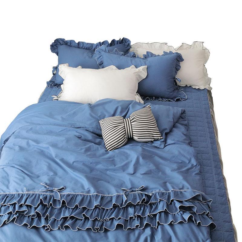 Princess Pink letto di Re Queen Size Girl Casa Blu Bianco Grigio Bedding Ruffle Quality Europe DuvetCover lenzuolo Set Set Cotton Bed