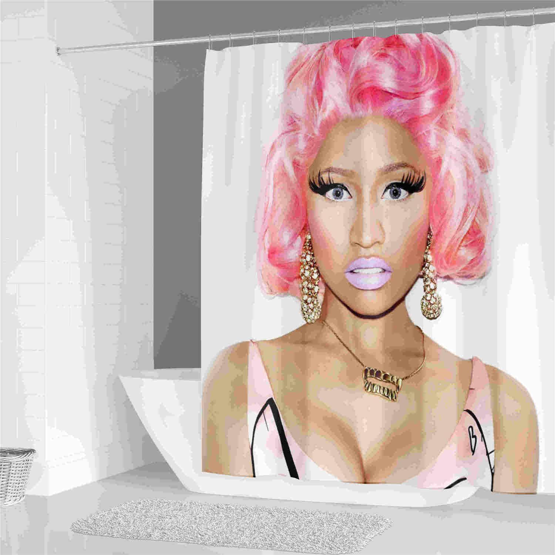 Mulher Sexy in Pink cabelo tecido de poliéster impermeável Casa de Banho Cortina de cortina de chuveiro