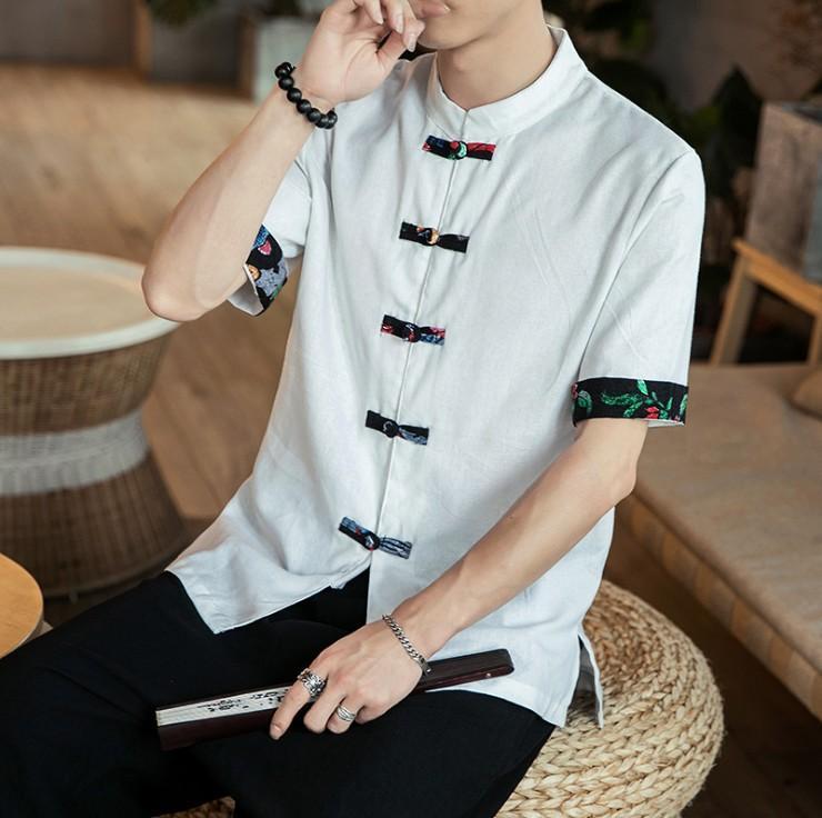 Été chinois Vintage Tang costume Collier de lin Stichting Chemises Vêtement traditionnel chinois pour hommes Top Hanfu Chemisier