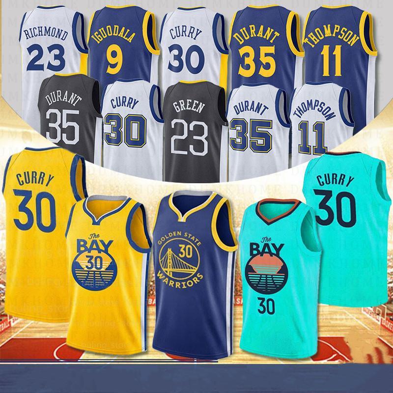 نمط جديد NCAA 30 ستيفن كاري كرة السلة الفانيلة 23 درايموند الأخضر 11 كلاي طومسون 9 أندريه إيغودالا أعلى جودة مخيط الفانيلة 2020 جديد