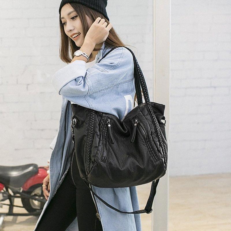 2019 mulheres sacos Casual Wash Água Couro de um ombro saco de couro macio Big Bag Mommy qchv #