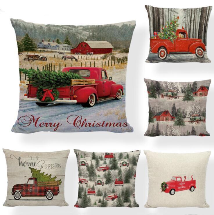 Taie d'oreiller de Noël Arbre de Noël Housses Throw Taie Impression voiture rouge Case Canapé Coussin Couch Couverture Décoration de Noël LSK553