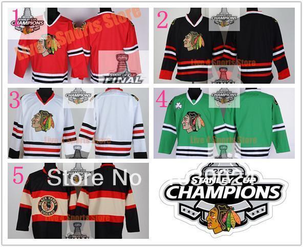 Чикаго Блэкхокс Джерси Blank Красный Белый Черный NWT Зеленый Главная Третьи чемпионов Хоккей Блэкхокс Джерси Скидка для любителей продажи