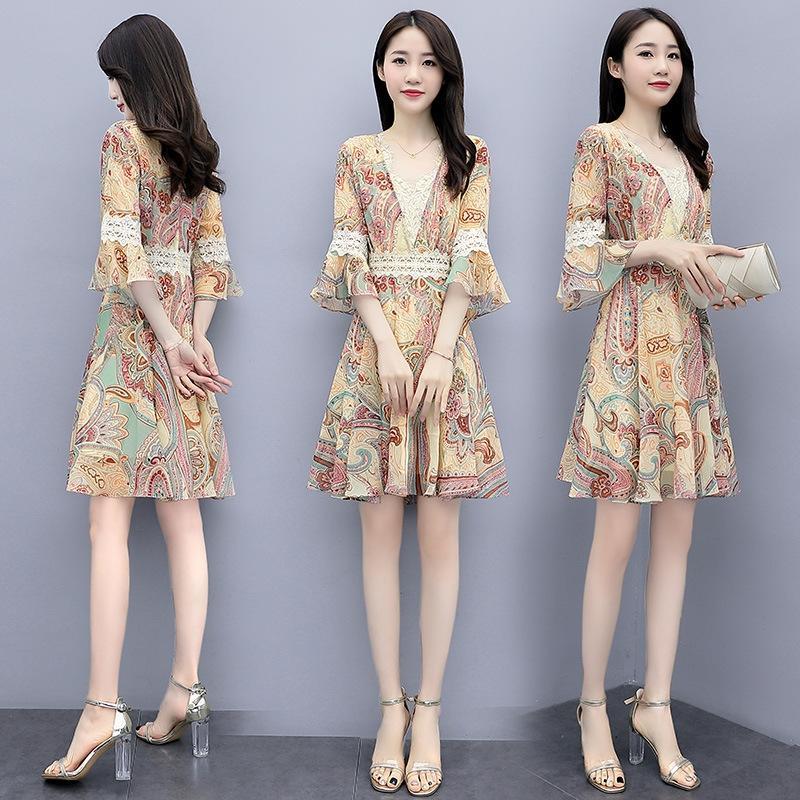 wR0ZC Цветочная маленькое лето нового платье 2020 женской одежда элегантных талии французского похудения шифон платье мода