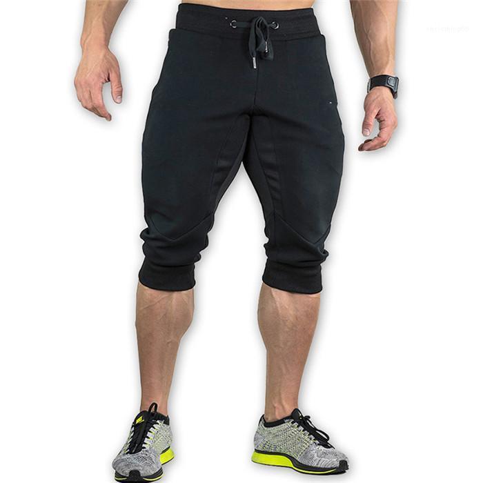 Patchwork lâche Casual Corsaire Pantalon Drawstring Hommes Zipper Vêtements Hommes Pantalons Sport Été Crayon Homme Mode