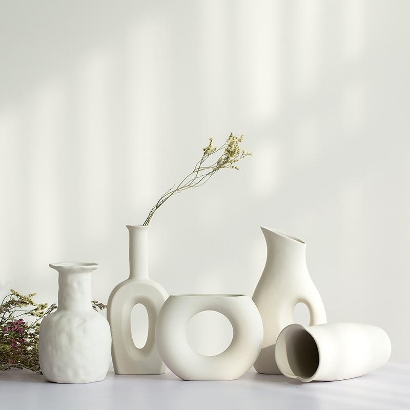 2020 1pcs White Ceramic Vase Dried Flowers Small Fresh Living Room Flower Arrangement Starry Table Home Decoration Pendulum