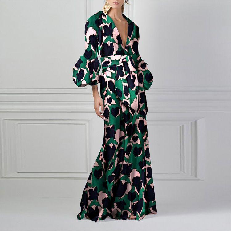mode d'été des femmes occasionnels design chic imprimé à manches longues robe sexy encolure en V