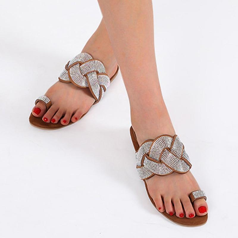 Женщины Toes Плетение Кристалл Блестящие Доведите лето Элегантный плоский башмачок сандалии обувь Повседневная обувь Flock Ladies Fashion Party