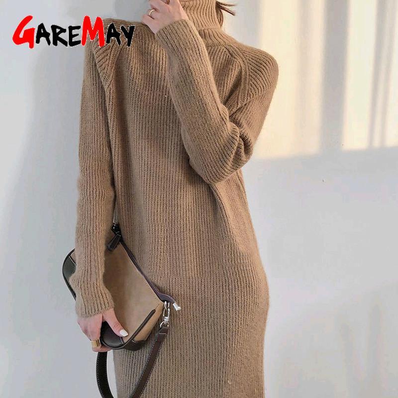 Übergroße Rollkragen Pullover Kleid weiblich Winter warme Strickwaren Lange Raglan-Hülsen-mittleres Kalb Strick Thick Herbst Kleider für Frauen