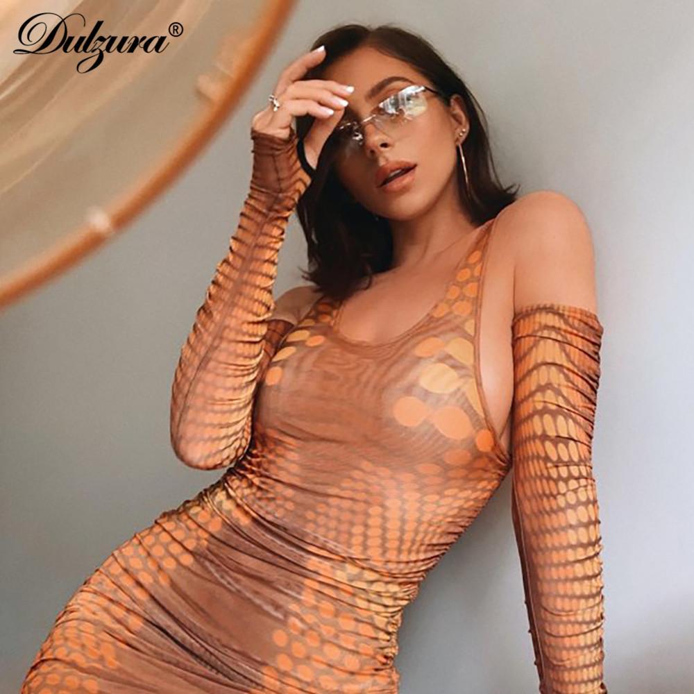 Dulzura donne della stampa serpente mini abito con i guanti Bodycon sexy coulisse fasciatura streetwear 2020 vestiti estivi partito clubwear