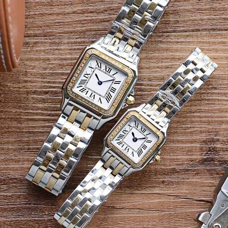 2020 Top Grade Новая мода женщина площади золото Часы Повседневный Lady Кварц Panthere де G Factory Часы из нержавеющей стали 316L бэнда Montres Релох