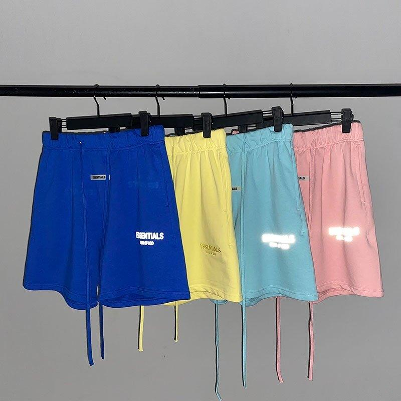 TIMORE DI DIO NON PERDERE High Street coulisse Yellow Shorts Lettera ricamato cinque punti pantaloni S- XL
