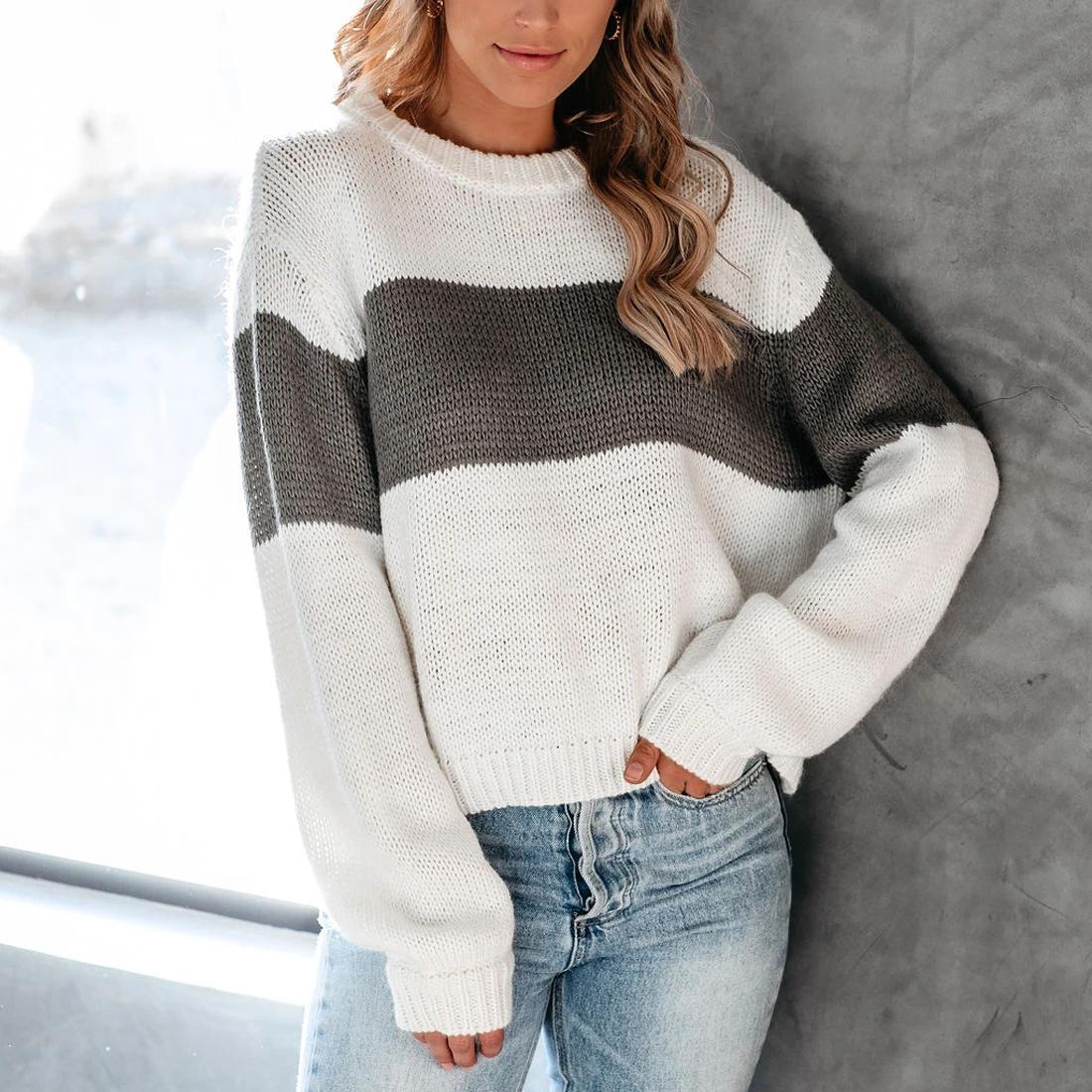 A strisce Donne maglione di colore a blocchi collo rotondo delle donne Maglione Atumn inverno caldo di spessore Pullover morbido cotone a coste a maglia