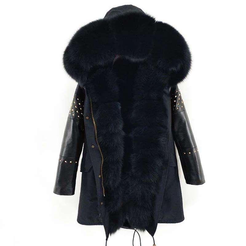 2020 Parka Larga Piel real chaqueta de la capa del invierno de las mujeres de piel de oveja natural del cuero del remache mangas Prendas de Calle Nueva informal