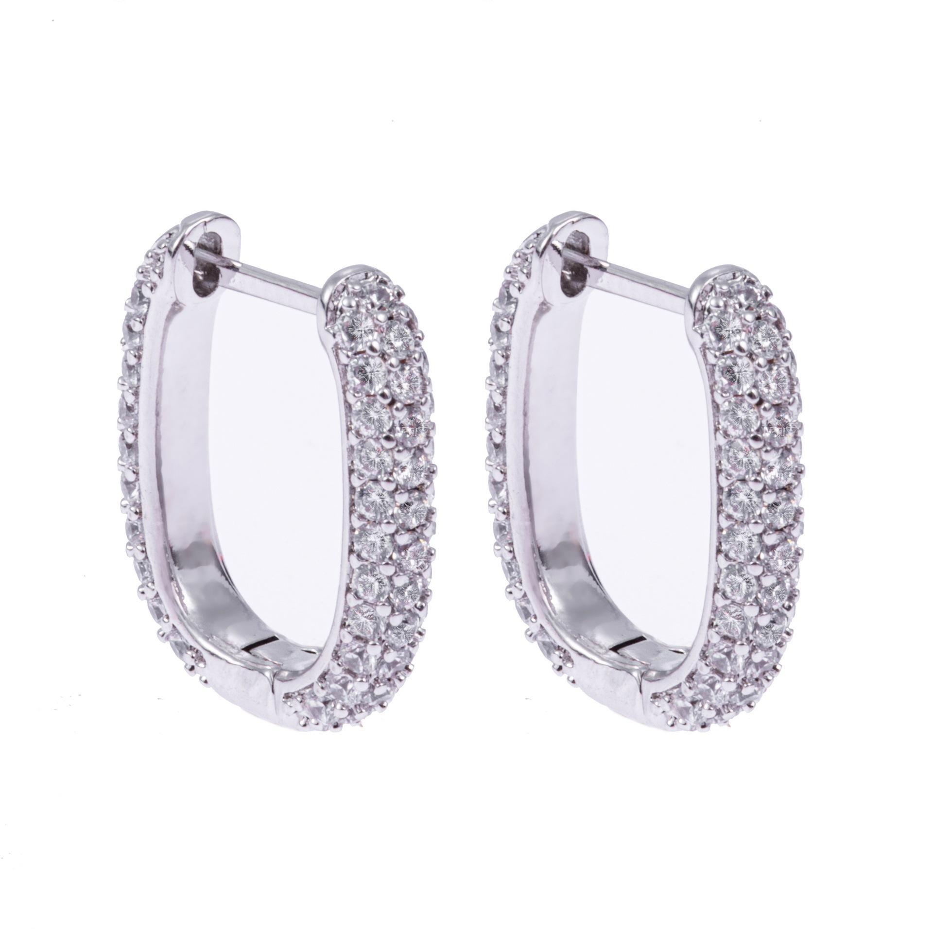 2020 Nuovi Orecchini rettangolari europei e americani Donne Diamante Diamante Diamante di cristallo Grande fibbia per orecchio personalizzata
