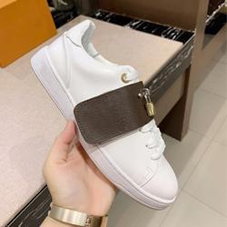 diseñador de zapatos planos ocasionales 100% de cuero Impreso zapatilla de deporte del alfabeto de lujo de la mujer zapatos de cordones de metal de bloqueo Zapatos blancos marrones de tamaño grande 35-41-42