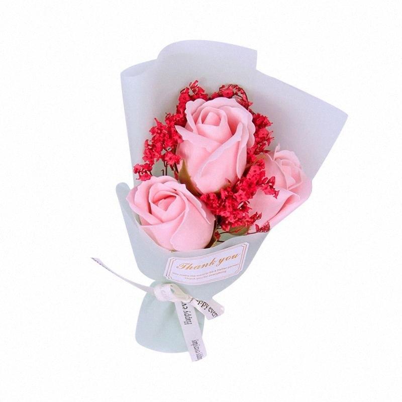 Flores artificiales regalo del día Mini Bouquet regalo de cumpleaños Decoración hermosa Una rosa del ramo de mano que sostiene el jabón de la flor de la madre d5no #