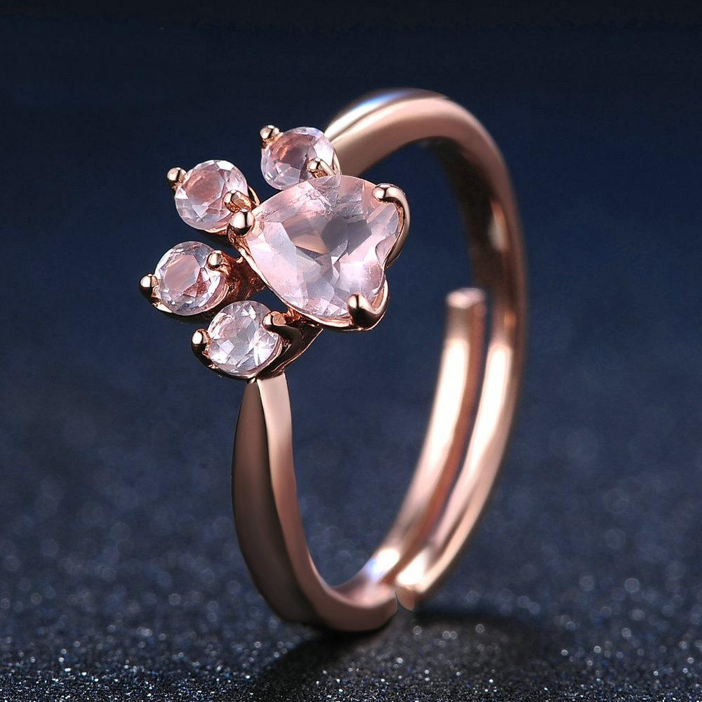 Moda A pata do cão de cristal Anéis ajustável jóia do casamento amor anéis de diamante para Mulheres Meninas do presente frete grátis