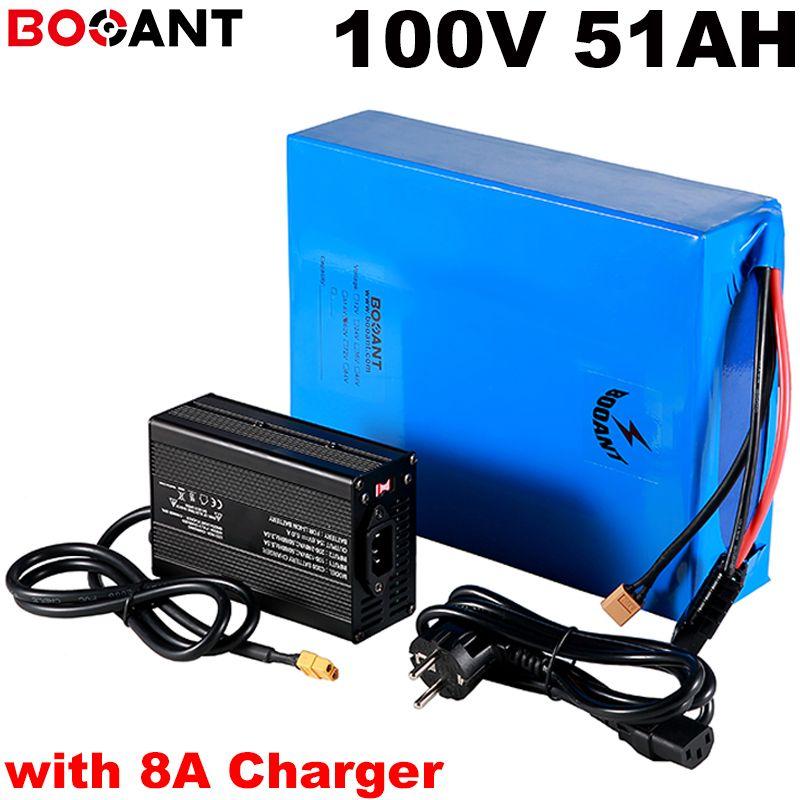 100В 50AH электрический велосипед аккумулятор для Panasonic 18650 клеток 10KW 12000W самоката лития встроенный 150А BMS + 8A зарядное устройство