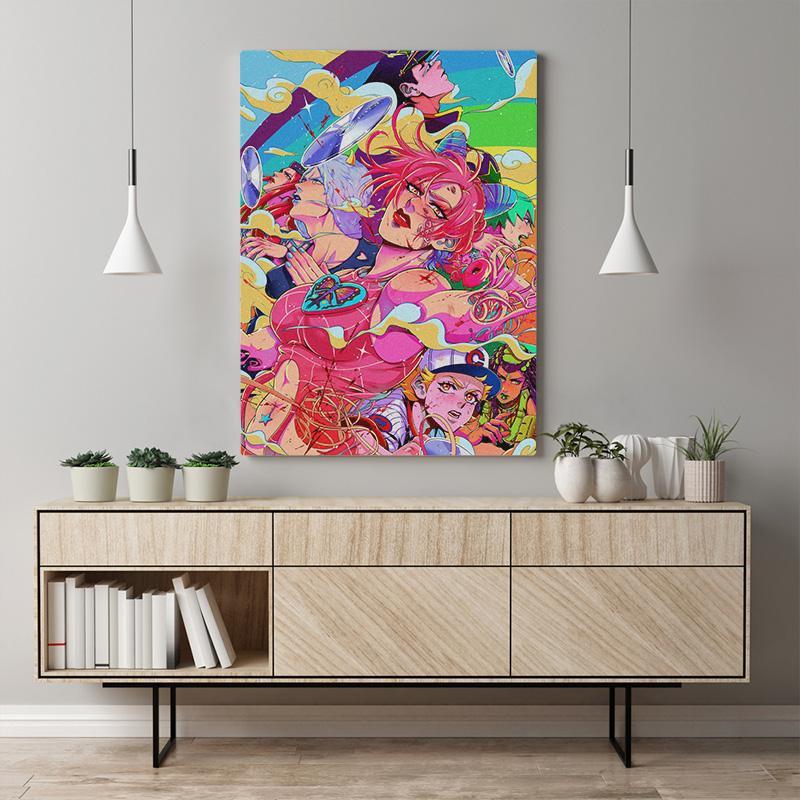 Home Decor Painting Jojo S Bizarre-Leinwand moderne Wand-Grafik Modular Japanese Animation Bild Schlaf Hintergrund Drucken