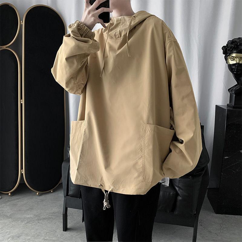 Herbst Hoodies Herrenmode Solid Color Lässige Multi-Pocket-Sweatshirt Männer Street Wilde lose Hip-Hop-PulloverHoodie der Männer