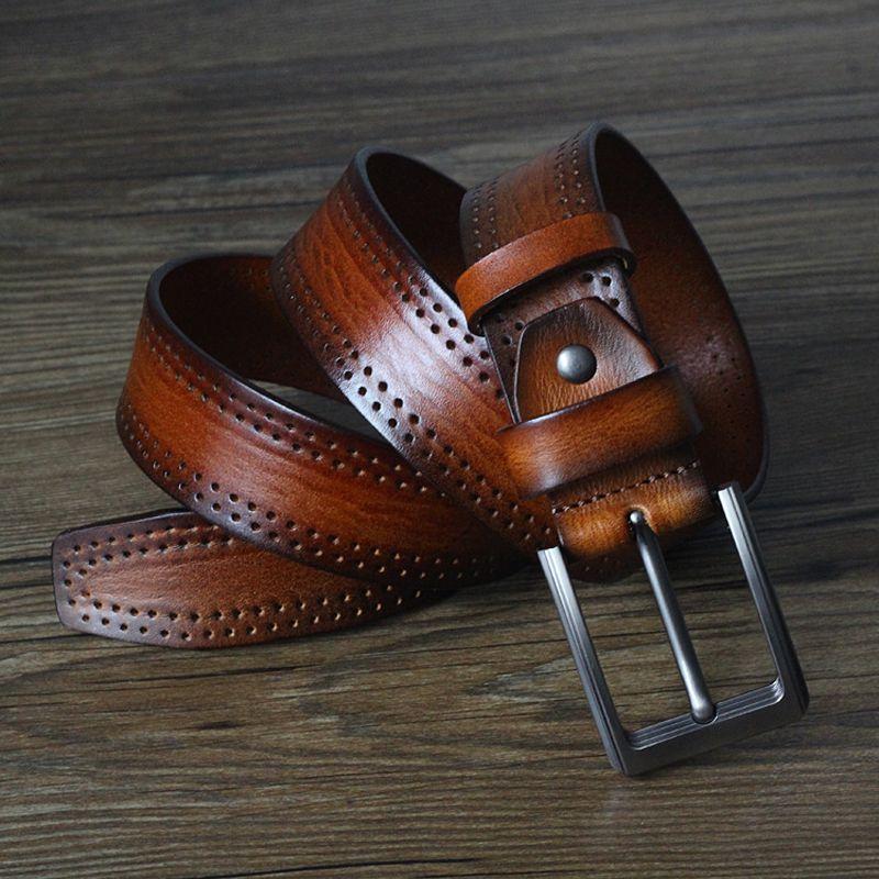 Hommes Ceintures de luxe pleine fleur de peau de vache rétro en cuir véritable ceinture Homme de haute qualité Ardillon Masculines sangle pour Jeans