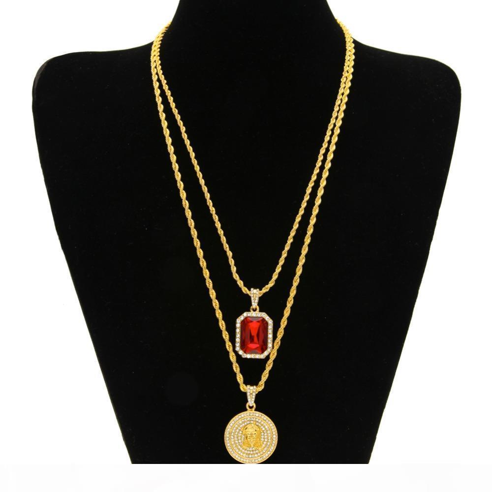 Оптово-Микро красного рубин Иисуса лицо кулон ожерелье цепь Набор для мужчин сплава цинка высокого качества Iced Out Hip Hop Jewelry Нового прибытия
