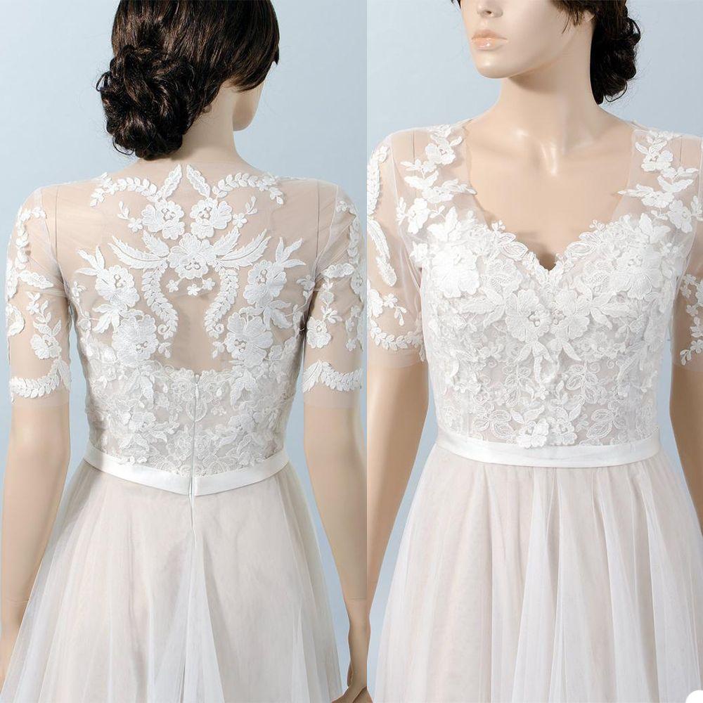 Vintage Bridal Jackets V Neck Short Sleeve Bolero Wedding Top 2020 New Lace Appliques Custom Made Plus Size Bridal Accessories