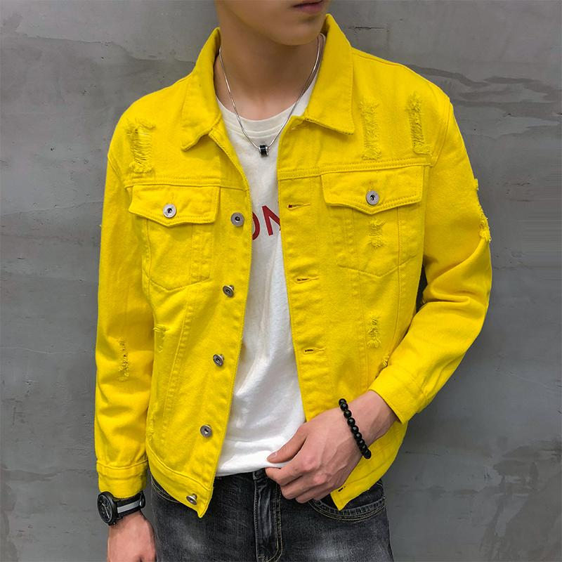 denim jacket men jaqueta masculino Korean stylish short coat male streetwear clothing hip hop hole ripped jeans jackets for men CX200801