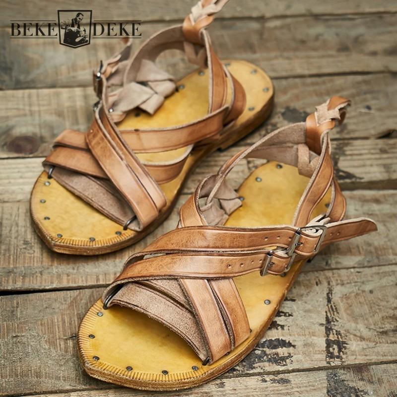 Main Weave Vintage Hommes Chaussures 2020 Chaussures d'été de haute qualité en cuir de vache extérieur Designer toes plat Hommes Sandales Gladiator