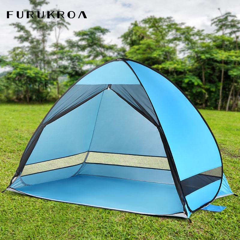 Sport-Sonnenschutz-Zelt für Fischen-Picknick-Strand-Park Stoff Anti-Moskito-Outdoor-Camping-Zelte Automatische Sun Shelter Sommer X89B
