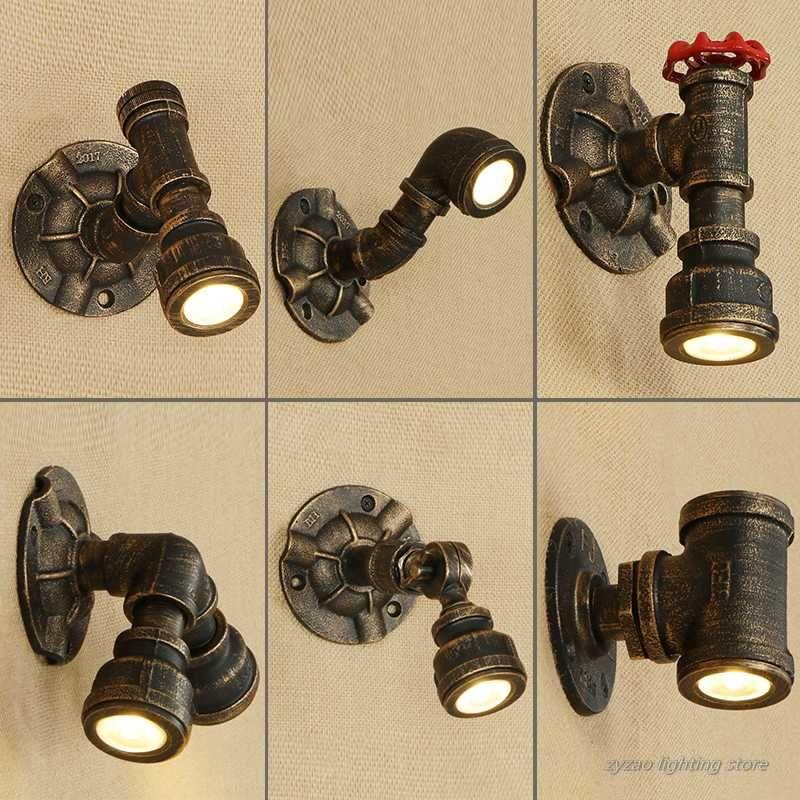 Industrial Loft Nostalgic Vintage Water Pipe Wall Lamp Bar KTV Retro Wall Light Fixtures Iron Pipe Restaurant Candlle Light