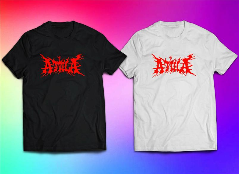 Аттила Metal Rock Band Logo T-Shirt Bw Размер XS-5XL Homme Plus Размер Tee Shirt