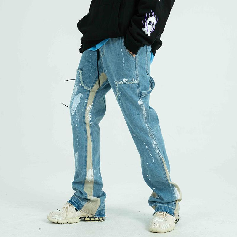 Мужские джинсы Цветные блок окрашены на улицу Уличная одежда Мужчины с потертой боковой лентой Свободные повседневные джинсовые брюки хип-хоп Harajuku пара брюки