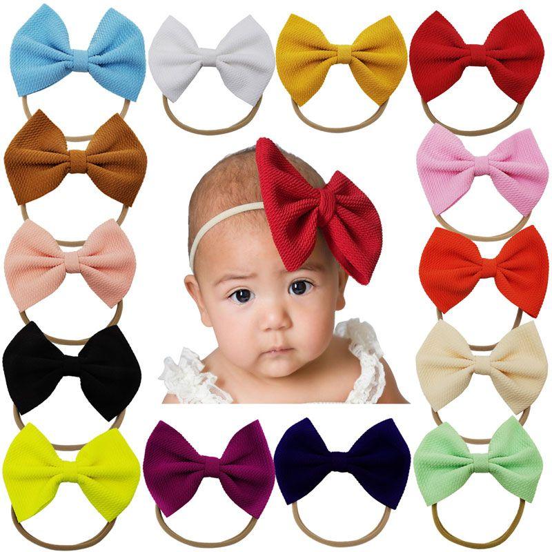 Baby Girls Arcos Diademas Nailon Nylon Accesorios Elásticos Peluqueros Niños Bowknot Headwrap Newborn Photo Props