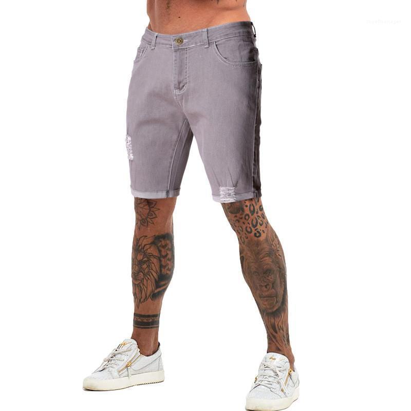 Mens Estate Shorts Gery jeans strappati Mens Estate Designer Pantaloncini Medio Vita con le tasche ginocchio lunghezza Lavato Etero