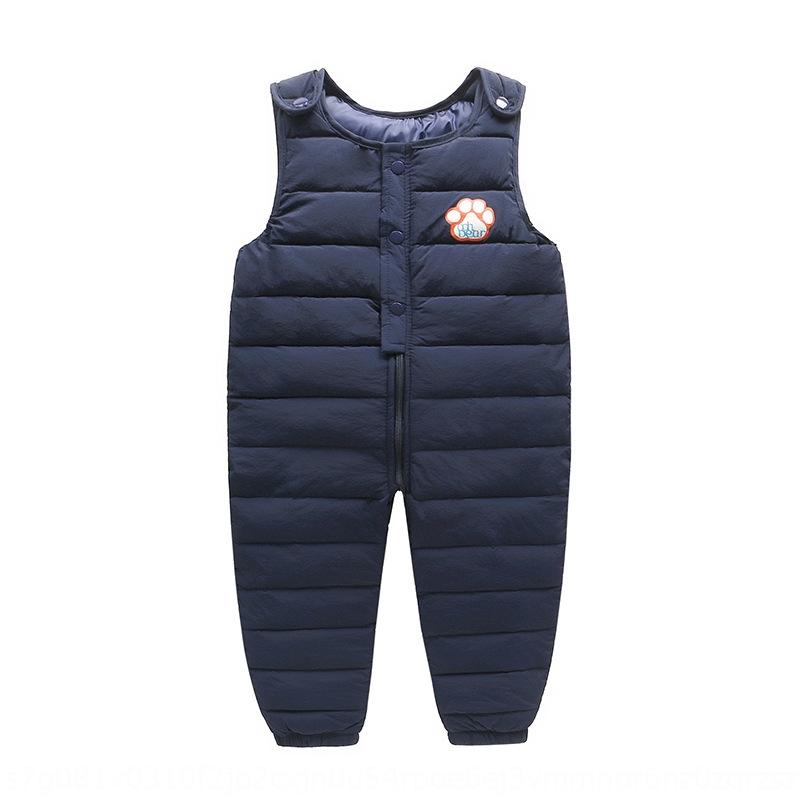 f8ypI Autumn and sling jumpsuit Winter new children's down cotton pants infant foldable jumpsuit thickened baby suspender pants for small an