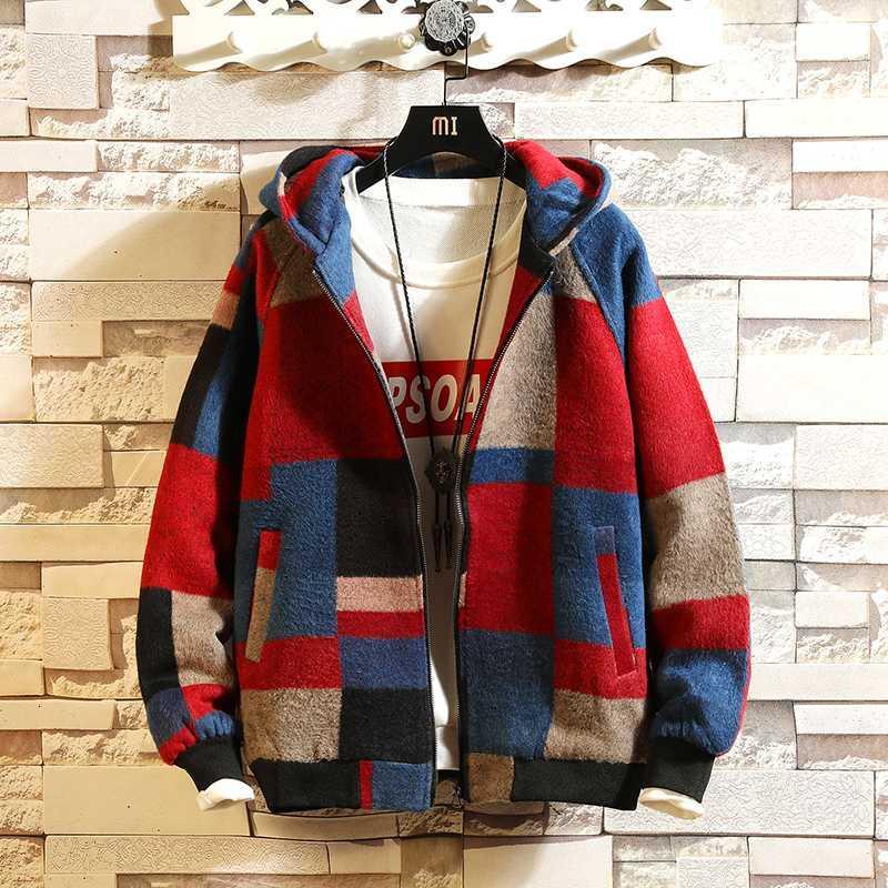 Sonbahar Erkek Yün Kapşonlu Ceket Dikiş Renk Kafes WINDBREAKER Casual Ekose Yün Giyim Termal Streetwear