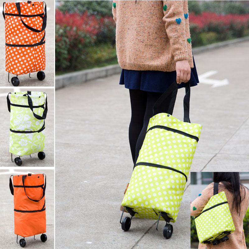 Dobrável Carrinho de Compras Saco de carrinho de rolamento da roda de mercearia casa Storage Bag Handbag Tote viagem organizador Bags HH7-1229