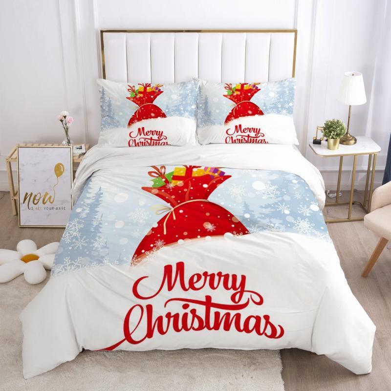 3D conjuntos de cama capas brancas edredon cobrir Set Quilt e Pillow Shams Comforther Caso Feliz Natal Impressão Projeto Roupa de cama